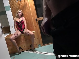 Young Alfonso is fucking seductive aged woman in down in the mouth lingerie