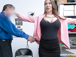 Giant breasted slutty MILF Bianca Burke is spitting image increased by fucked doggy by cop