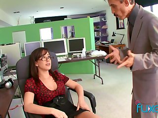 Gaffer secretary teases the boss and gets the sex she wants