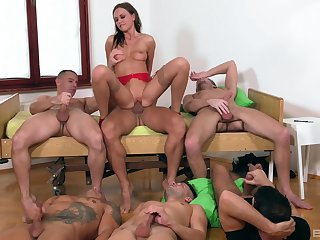 Tina Kay is the center be required of germaneness during stunning gangbang turtle-dove