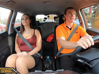 Undertaking Driving Tutor Curvy brunette Sofia Lee sucks coffee
