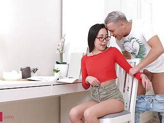 Japanese honey with glasses, Li Loo is having bang-out with a Russian man, after fellating his shaft