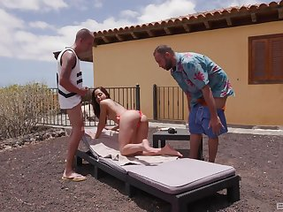 Wild outdoors MMF fucking with half-starved anal loving slut Melon