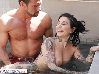 Outdoors fucking with tattooed pornstar Joanna Angel. HD video