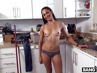 Latina maid strips and fucks