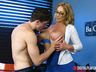 Huge-Boobed, towheaded cougar, Eva Notty is having hookup with say no to step- son-in-law, nearly every girlfriend