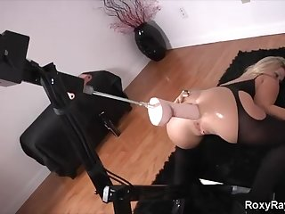 Roxy Raye is frequently using a drilling machine for rectal vibration, in the balance she has an climax